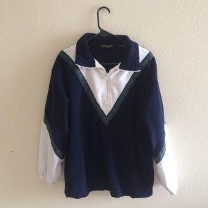 ✨80s vintage funky print fleecy quarter sweater ✨